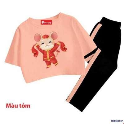 Bộ thun áo croptop CHUỘT MÙA XUÂN và quần lửng cho bé gái Profile Picture