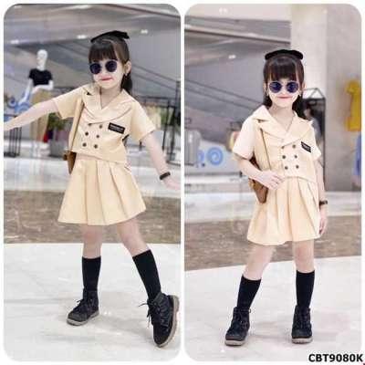 Sét áo kiểu vest đính cúc và quần giả váy xếp ly cho bé gái Profile Picture
